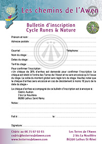 Bulletin d'inscription - Cycle Runes & Nature